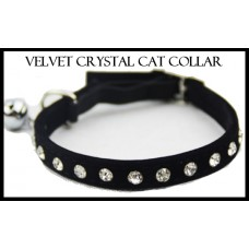 Velvet Crystal Cat Collar Black